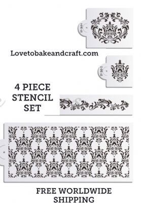 Damask cake stencil, 4 piece set. Flower cake stencil, Wedding cake stencil, cake decorating stencil, Free worldwide shipping (1) (2) (5) (6) (10)